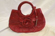 Anne Fontaine Red Leather Flower Tote Handbag