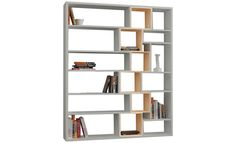 Bibliothèque Roscoe blanche et beige 150 x 184 x 29 cm