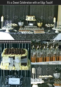 A black and white desserts table with silver accents; features cupcakes, chocolates, and beverages.  #weddingcandy #sweetstables #candybuffets