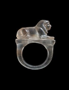 Ancient Egyptian rock crystal ring,carved into the shape of a sphinx.The ring dates to the 19th-20th dynasty or 1295–1069 B.C.