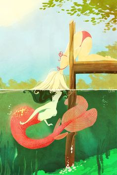 The amazing digital art. Illustration of a mermaid kissing a human girl. Lesbian Art, Lesbian Love, Fantasy Kunst, Fantasy Art, Art Lesbien, Bel Art, Image Manga, Mermaids And Mermen, Merfolk