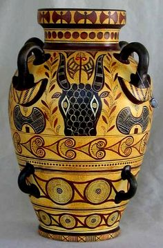 Minoan Art Pottery | Minoan eight handled amphora