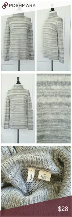 Moth Gray and White Striped Sweater Sweater has gray and soft white stripes, light weight, with a slightly nubby texture to the weave. You will probably want to wear a cami with this. Wool blend. Moth Sweaters
