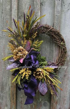 New Totally Free Fall Wreath purple Thoughts The fall year delivers with it cozy. : New Totally Free Fall Wreath purple Thoughts The fall year delivers with it cozy powerful shades, feathery appearance and lots of crop many fruit Elegant Fall Wreaths, Autumn Wreaths, Holiday Wreaths, Wreath Fall, Spring Wreaths, Thanksgiving Wreaths, Wreaths For Front Door, Door Wreaths, Grapevine Wreath