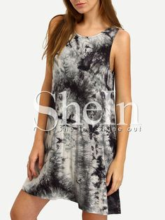 Black Crew Neck Ink Print Tie-dye Casual Dress -SheIn(Sheinside) Mobile Site