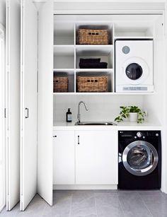 New Bathroom Storage Shelves Diy Laundry Rooms Ideas Laundry Cupboard, Laundry Room Doors, Laundry Room Remodel, Small Laundry Rooms, Laundry Room Storage, Cupboard Storage, Laundry In Bathroom, Bathroom Storage, Kitchen Storage