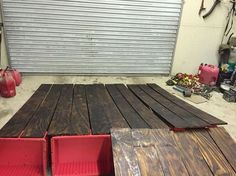 hardwood floors from plywood yes , flooring, hardwood floors, how to, Planks are stained and drying