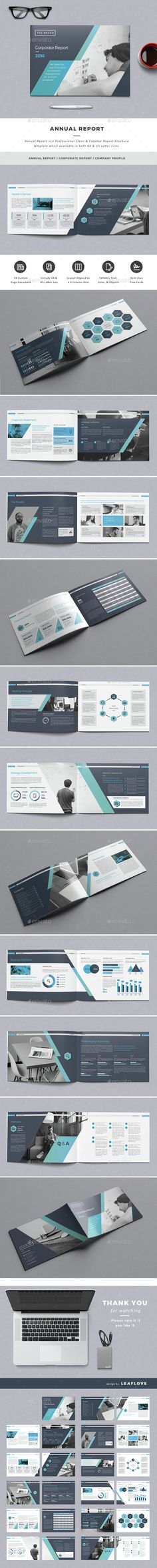 Annual Report by LeafLove Annual Report Landscape / Clean & Creative Report Brochure Template. This layout is suitable for any project purpose. Very easy to Graphic Design Agency, Graphic Design Layouts, Freelance Graphic Design, Layout Design, Design Brochure, Booklet Design, Brochure Layout, Brochure Template, Brochure Format