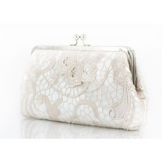 Bridal Satin Lace Clutch in Champagne & Ivory L'heritage 8-Inch ($70) ❤ liked on Polyvore featuring bags, handbags, clutches, accessories, bags & purses, light yellow, weddings, ivory handbag, bridal clutches and bridal handbags