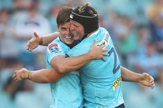 Mitch Short of the Waratahs celebrates scoring a try with Damien. Super Rugby, Sydney Australia, Scores, Rebel, March, Baseball Cards, Celebrities, Image, Celebs