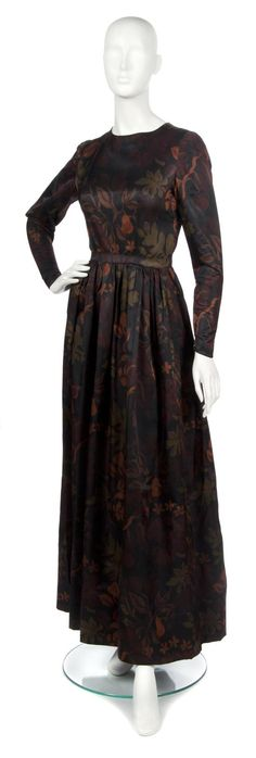 A Mainbocher Autumnal Silk Evening Gown,   1950s