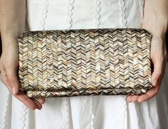 Tribal Chevron Clutch  Brown and Olive Green by goodmarvin on Etsy, $38.00    etsy.com