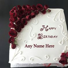 Red Rose Happy Birthday Cake Name Edit Option Happy Birthday Cake Writing, Birthday Cake Write Name, Birthday Wishes With Name, Happy Birthday Cake Pictures, Happy Birthday Wishes Cake, Friends Birthday Cake, Birthday Cake With Photo, Happy Birthday Celebration, Happy Birthday My Love