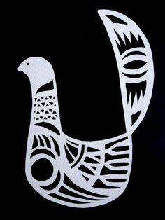 Scandinavian Inspired Bird II - ORIGINAL paper cutting. Love these birds.