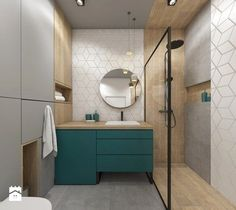 Love the teal colour Small Bathroom With Shower, Small Bathroom Storage, Bathroom Spa, Family Bathroom, Bathroom Design Small, Bathroom Renos, Bathroom Styling, Bathroom Interior Design, Modern Bathroom