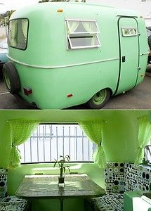 A cool green machine!!  '77 Scamp Fiberglass Trailer- 13ft.- Fully Restored with Retro Vintage look