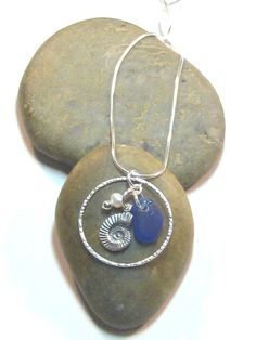 Cobalt blue sea glass charm necklace