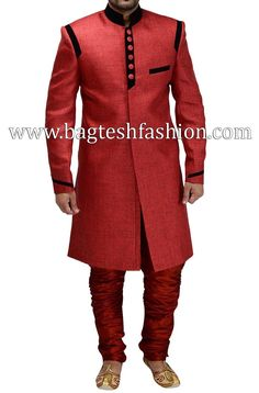 Jodhpuri indo western sherwani made in red color jute fabric. Comes with matching breeches style pyjama in red color dupion silk fabric. African Dresses Men, African Attire For Men, African Clothing For Men, African Shirts, African Wear, African Style, Nigerian Men Fashion, African Print Fashion, Africa Fashion