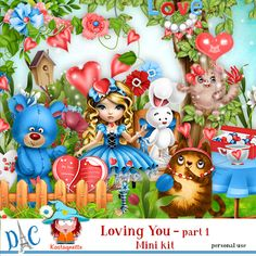 Loving You Mini kit Part 1 by kastagnette - Sticker Paper, Stickers, Kit, 3d Paper, Scrapbooking, Love You, Layout, Cartoon, Christmas Ornaments