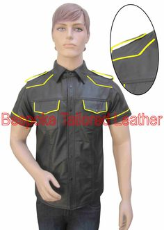 Leather Shirt Military Style With Colour by BespokeTailoredLeath