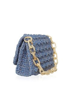 One & Only hand-crafted crochet shoulder bag with tortoise chain. Color: Denim and beige Flap close Interior detachable PVC pochette Chain