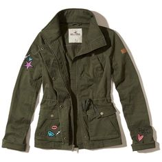 Hollister Twill Shirt Jacket (120 BRL) ❤ liked on Polyvore featuring outerwear, jackets, olive, olive jacket, twill jacket, green army jacket, olive green drawstring jacket and shirt jacket