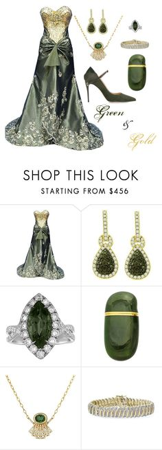 """""""Green & Gold"""" by donnalynnginn ❤ liked on Polyvore featuring YES, Elsa Peretti, Celine Daoust and Jennifer Chamandi"""