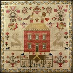 Sarah Wilson 1835; samplers with houses are among my favorites - love a red house