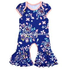 a703bc562b0 The lastest design for infant toddlers cotton floral rufflesleeveless icing  leg drak blue color baby girl romper