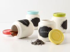 "Paint some nice jars with chalkboard paint ""labels"""