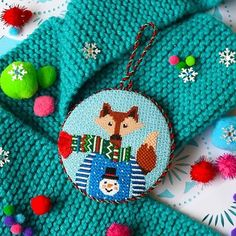 Tacky Sweater Party Fox Kit Tacky Sweater, Needlepoint Canvases, As You Like, Hand Painted, Painted Canvas, The Help, Cross Stitch, Fox, Christmas Ornaments
