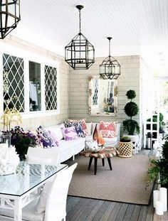Patio, furniture, exterior chandeliers http://utahdesignworks.blogspot.com