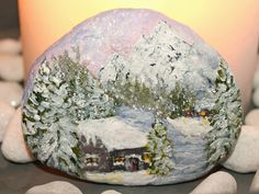 Winterscene on stone  inspired by 10 minute painting by Wilma Voermans