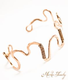 Squiggle Cuff Bracelet: Handcrafted, OOAK handcrafted jewelry, adjustable copper cuff bracelet (008)