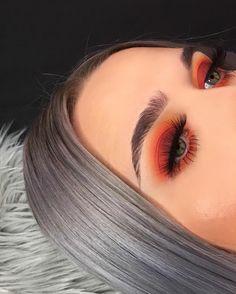 Glow makeup, orange eye makeup, matte look, orange vibe, girl, makeup, cute girls, orange eyeshadow, eyebrows makeup. Credits: unknown.
