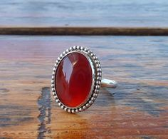 Carnelian ring Oval Carnelian natural stone Orange Brown by anakim, $112.00