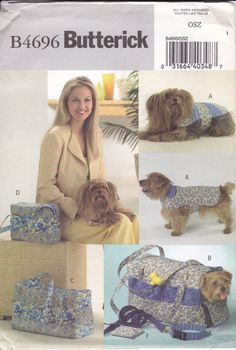 FREE US SHIP Butterick 4696 Animal, Pet Carrier Luggage Purse Tote Leash Coat Clothes Travel Uncut Dog Cat Out of Print by LanetzLiving on Etsy