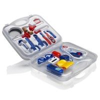KiddyPlay Deluxe Medical Kit - Large - The Kiddie Doctor deluxe 36cm x 32cm plastic carrycase contains everything a budding junior doctor or nurse might need to do away with aches and pains in their patients. Great for role play, this kit delivers great play value. Kiddie Doctor products are made from very high quality plastic that enable them to last longer and stand upto bumps and scrapes.  Age 3+ www.kidswoodentoyshop.co.uk