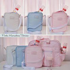 Porta mamadeira térmico: produto lavável, com alça removível, mantém aquecido por até 2 horas e cabe dentro da bolsa. Nas cores rosa, azul e branca by Biramar Baby.