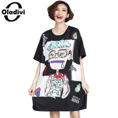 Oladivi 2017 Summer New Casual Loose Long T-shirt Dress Ladies Oversized Short Dress Plus Size Women Printed Tops Tees Tunic 5XL
