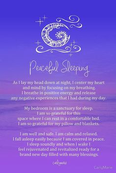 «Affirmation - Peaceful Sleeping» de CarlyMarie