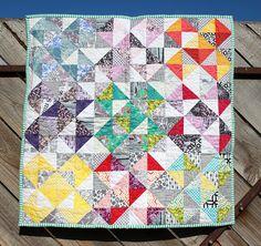 Baby Quilt - Rainbow, Modern, Geometric with Knitted Back- By Seraphym Handmade #thanksforthesurvey