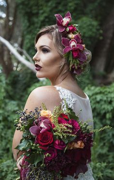 Purple orchid bridal headpiece and bouquet for modern vintage wedding   Taylor Mitchell Photography   See more: http://theweddingplaybook.com/lush-autumn-wedding-inspiration/