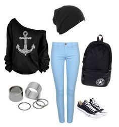 """""""Untitled #104"""" by danijellaa ❤ liked on Polyvore featuring Pieces and Converse"""
