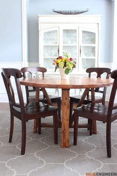 Round Trestle Dining Table - Free DIY Plans - Rogue Engineer-2 cost them only $40 to build!