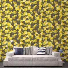 Déstructuré, géométrique, jaune, le papier peint Puzzle est une version très dynamique et design. Tapissez-le sur vos murs et vos pièces seront tonifiées !
