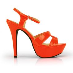 Delicious Orange Neon Ankle Strap Platform Dress Sandal ($20) found on Polyvore