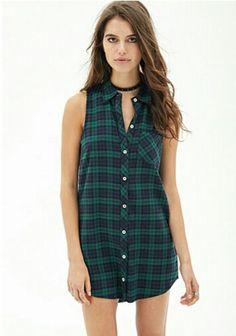 Plaid shirt dress #fall