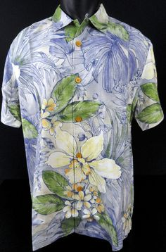 NWT Tommy Bahama Mens L Brisbane Botanical Silk Camp Shirt Allover Hawaiian SS #TommyBahama #HawaiianCampShirt