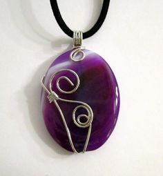 SALE - Wire Wrapped Purple Agate Pendant Necklace $15.00